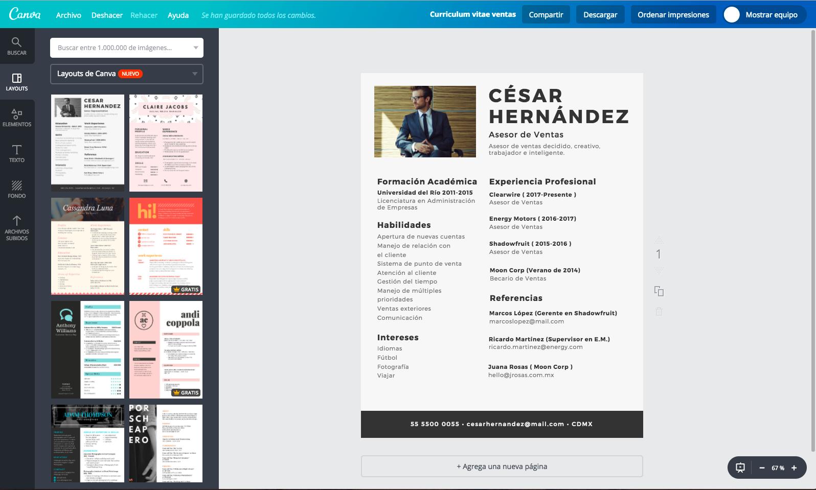 Crea un currículum vitae de ventas online gratis - Canva
