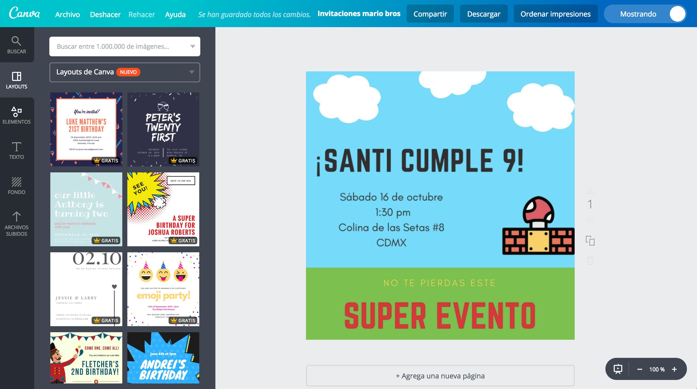 Diseña Invitaciones De Mario Bros Online Gratis Canva