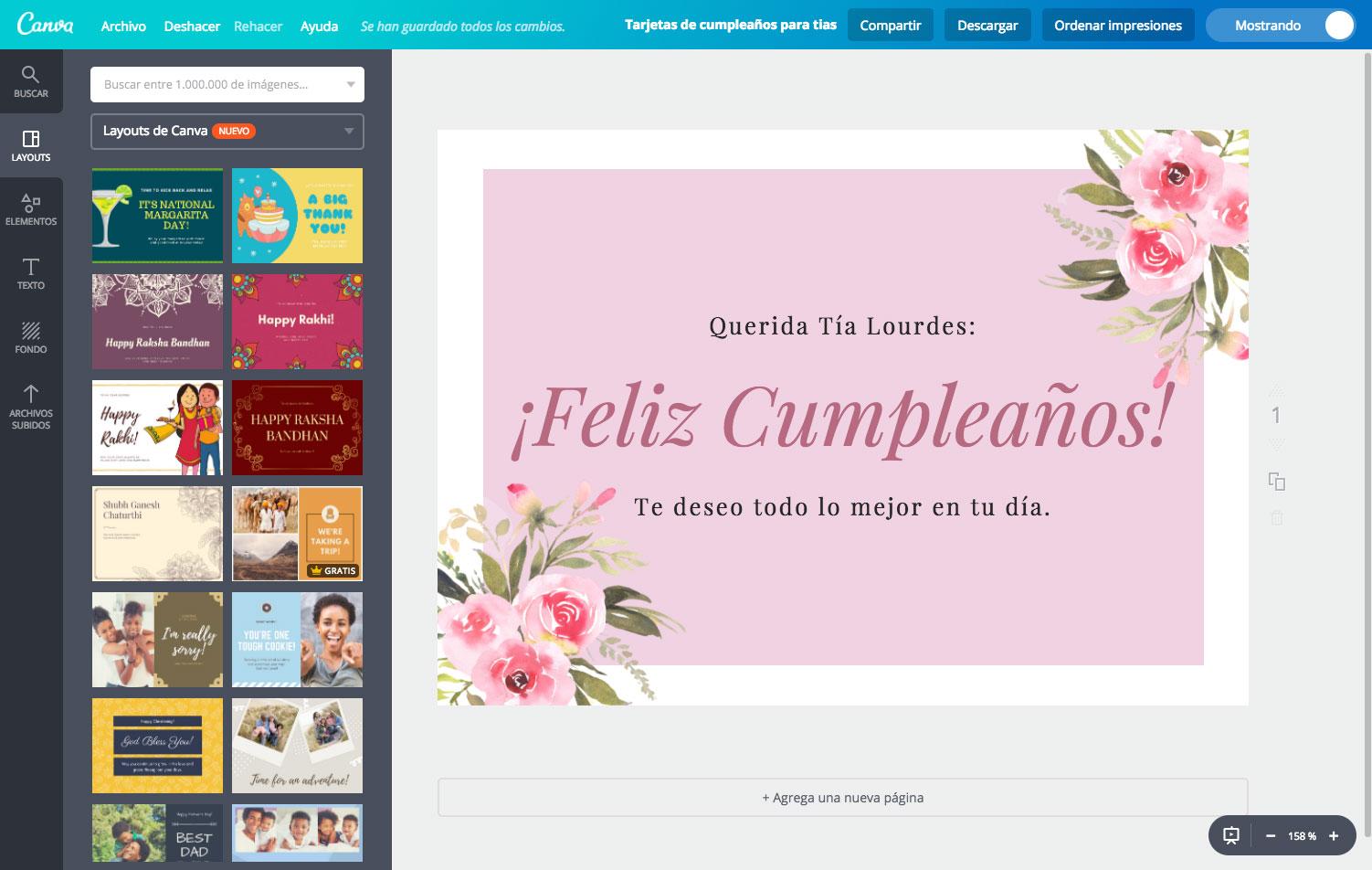 Crea tarjetas de cumpleaños para tu tía online gratis - Canva