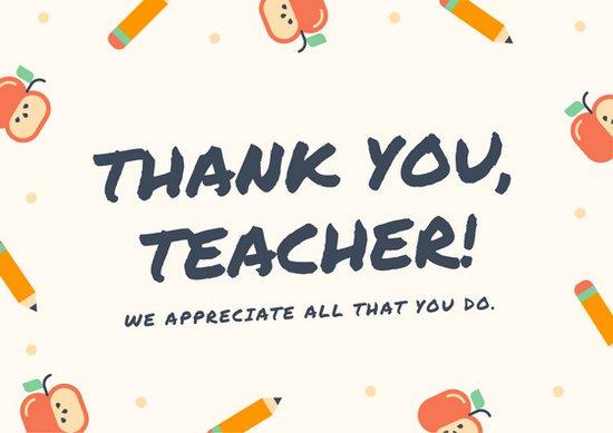 Открытка на день учителя с рисунками яблок и карандашей