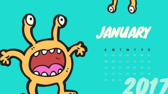 Шаблон календаря с бирюзовым фоном и рисунками