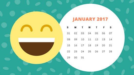 Дизайн календарного листа со смайлом на зеленом фоне