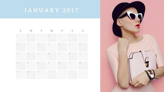 Дизайн календаря с белым фоном и фотографией девушки