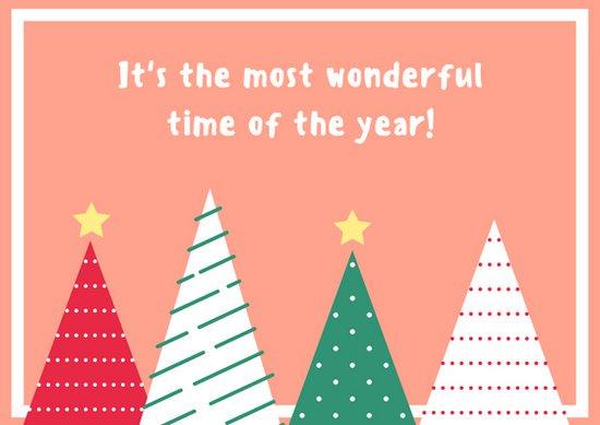 Рождественская открытка с минималистичными елками на персиковом фоне