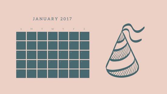 Шаблон календаря с розовым фоном и контурным рисунком колпака