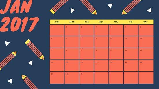 Календарная страница с красной графикой на синем фоне