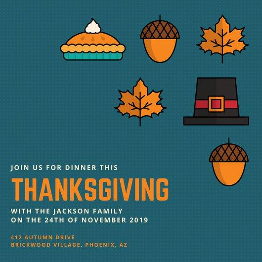 Приглашение на день благодарения с графикой на синем фоне