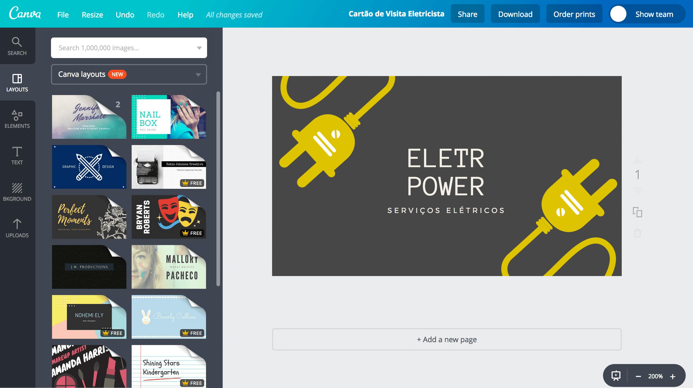 Favoritos Faça seu próprio cartão de visita de eletricista - Canva GM13