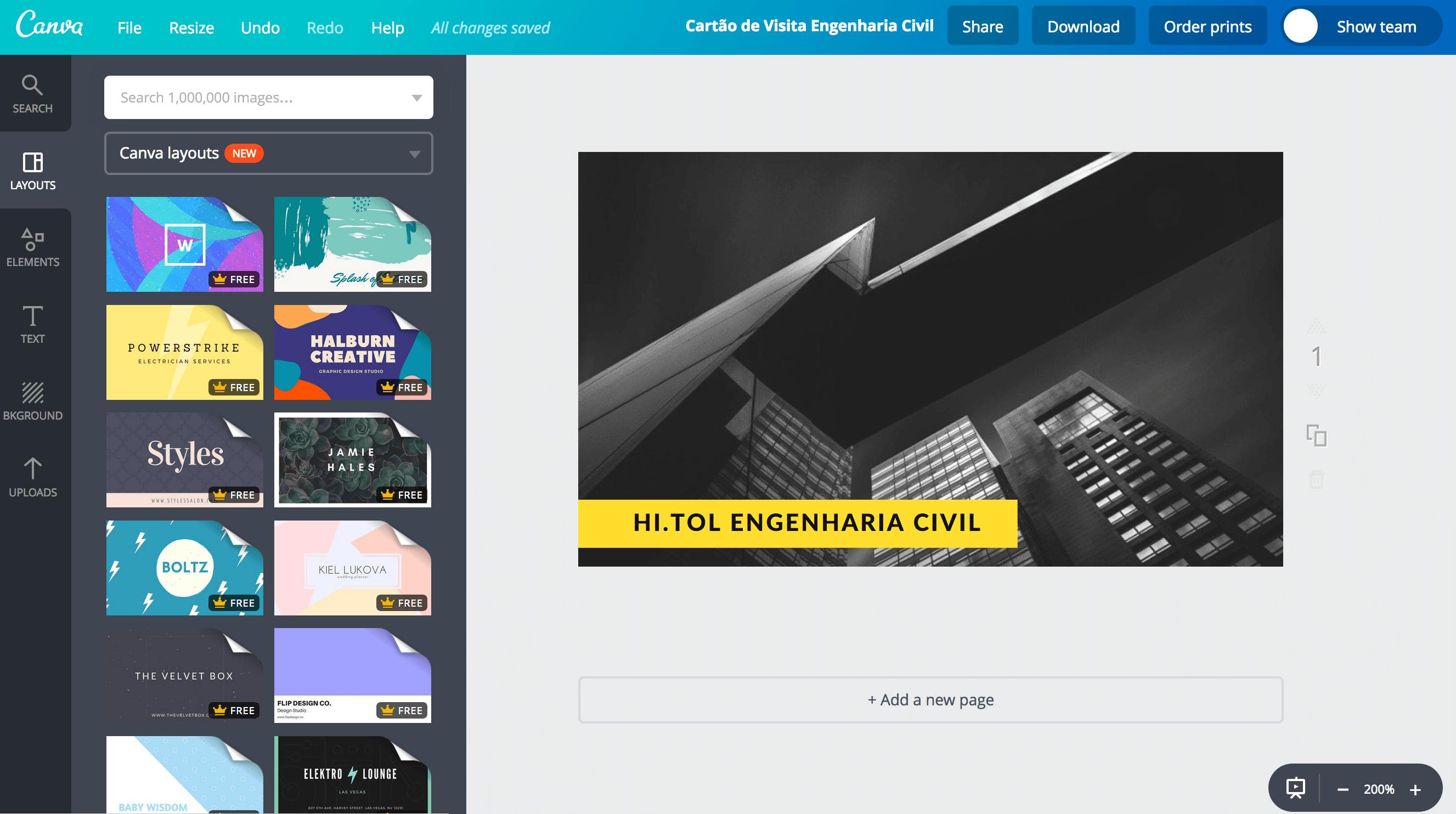 Cartão de visita para engenheiro civil