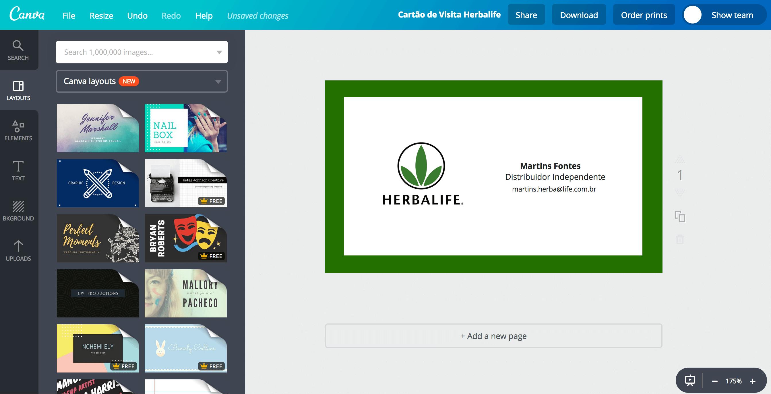 Cartão de visita para Herbalife