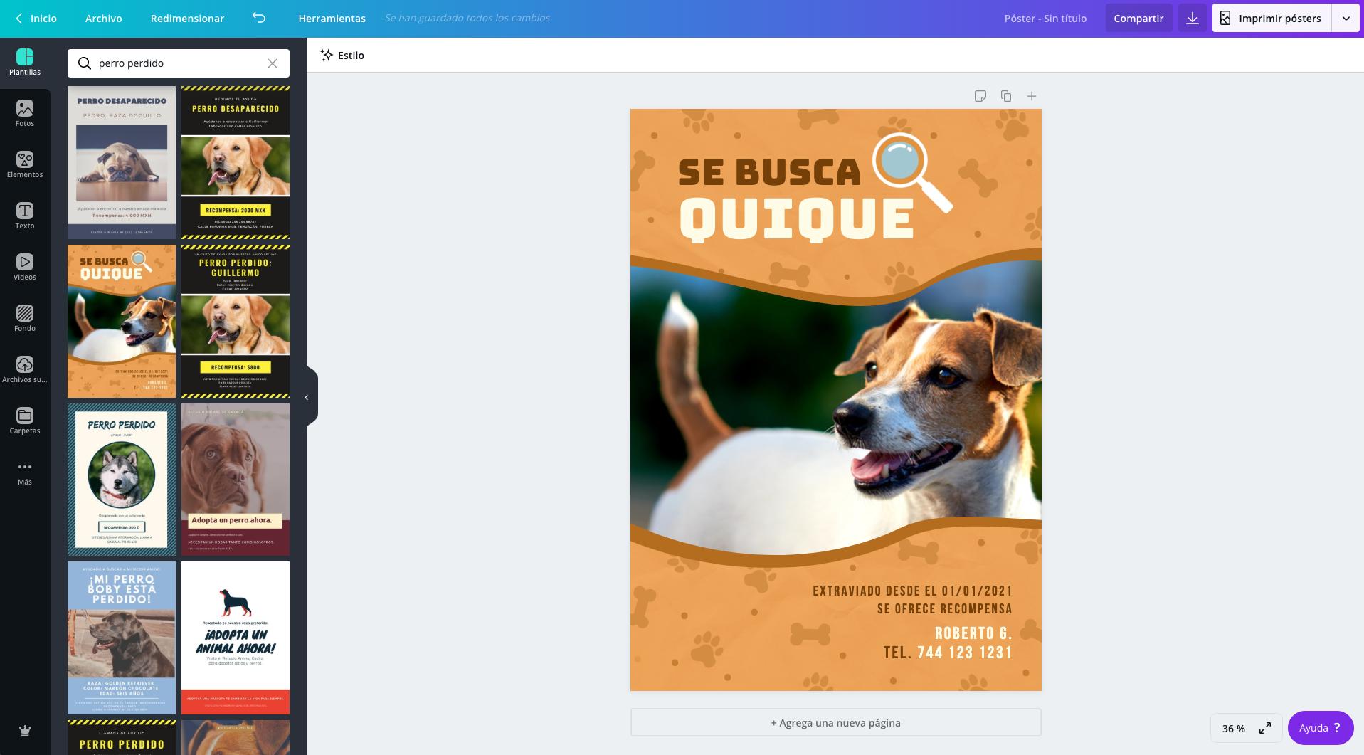 Cartel de 'Se busca perro'