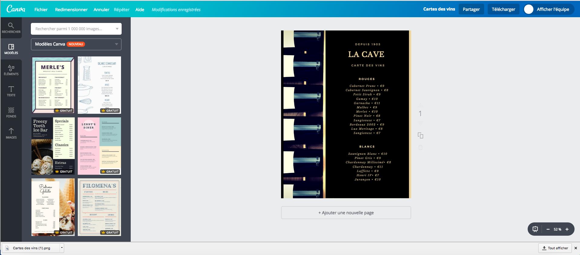 cr u00e9ateur gratuit de carte des vins en ligne  100  mod u00e8les