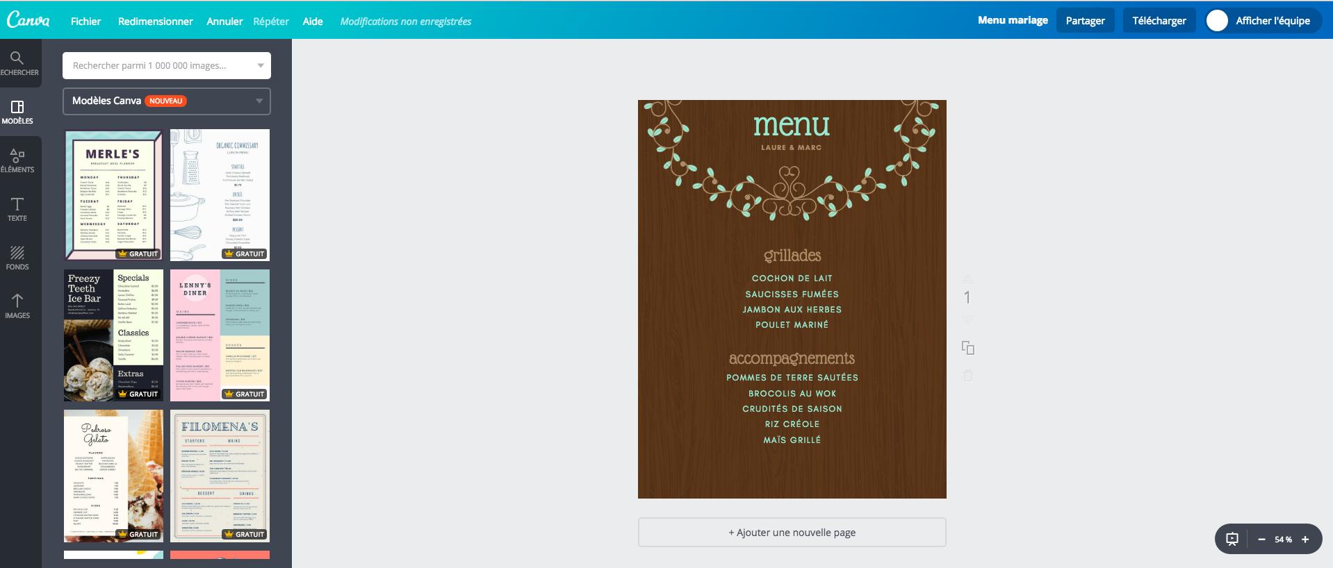 cr u00e9ateur de carte de menu de mariage gratuit  u00e0 imprimer