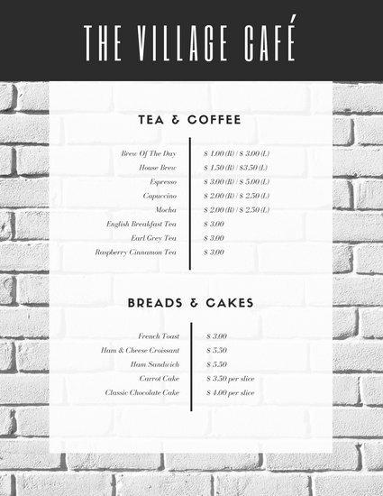 Шаблон меню кафе с фоном в виде кирпичной стены