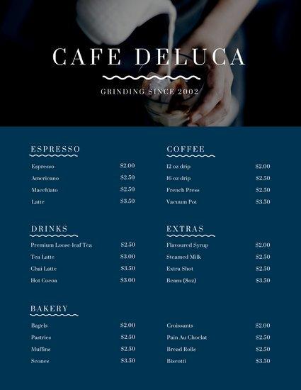 Дизайн меню кафе с фото льющегося молока