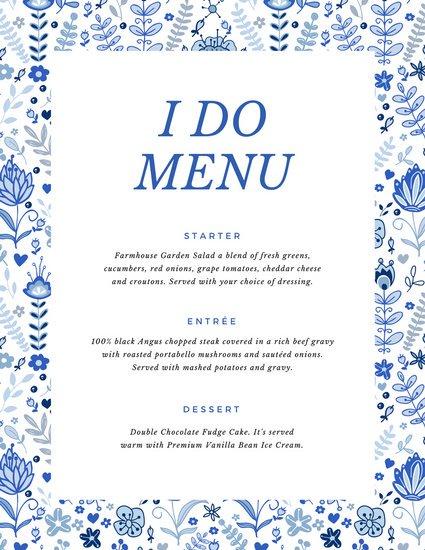 Свадебное меню на белом фоне с синим растительным узором