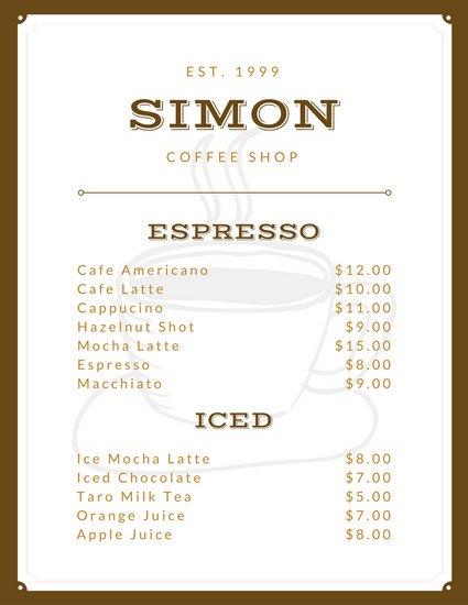Винтажное меню кафе с белым фоном