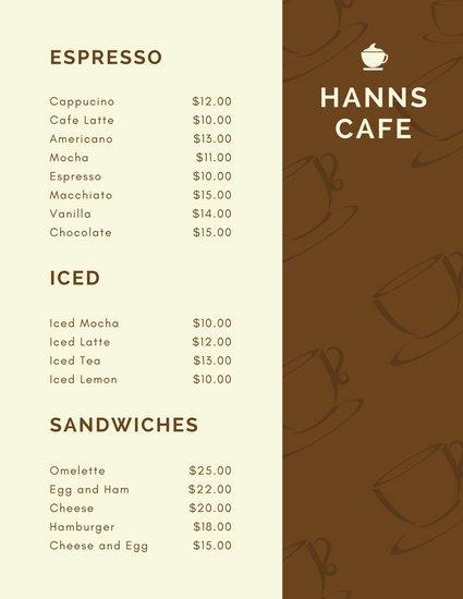 Классическое оформление меню кафе