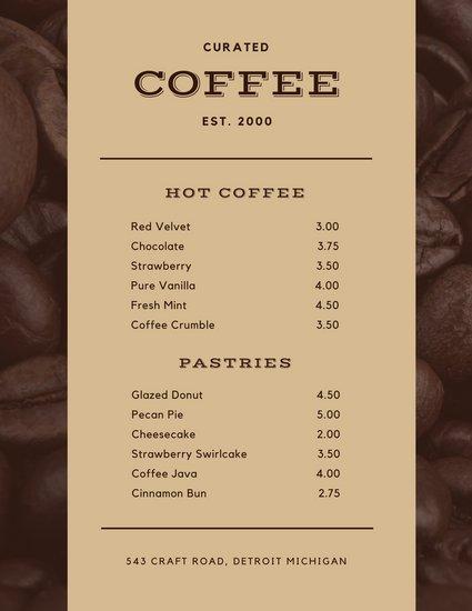Стильный шаблон меню для ресторана или кафе | Шаблоны меню, Меню ... | 550x425