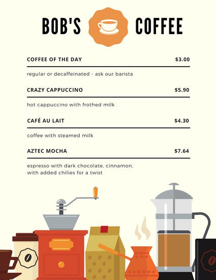 Пример меню кафе с рисунками кофейных атрибутов