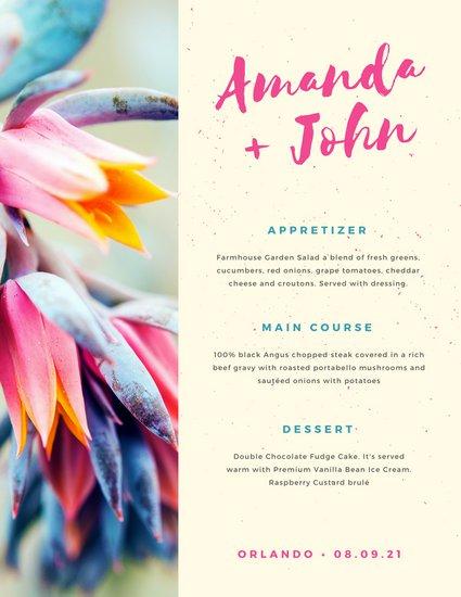 Шаблон свадебного меню в современном дизайне с фото ярких цветов