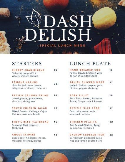 Шаблон меню ресторана с блюдами бизнес-ланча и списком закусок