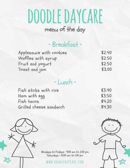 Шаблон детского меню с минималистичным рисунком на бумажном фоне