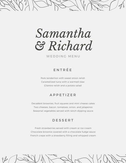 Свадебное меню в спокойном оформлении на сером фоне с орнаментом
