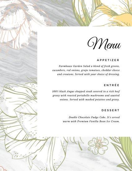 Шаблон меню на свадьбу с цветочным рисунком на фоне