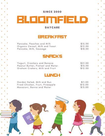 Шаблон меню детского сада с цветной графикой