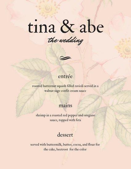 Красивое свадебное меню с розовым цветочным фоном