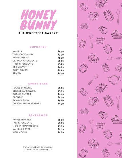 Шаблон меню кондитерской с паттерном из рисунков десертов