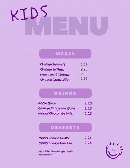 Фиолетовый фон для детского меню