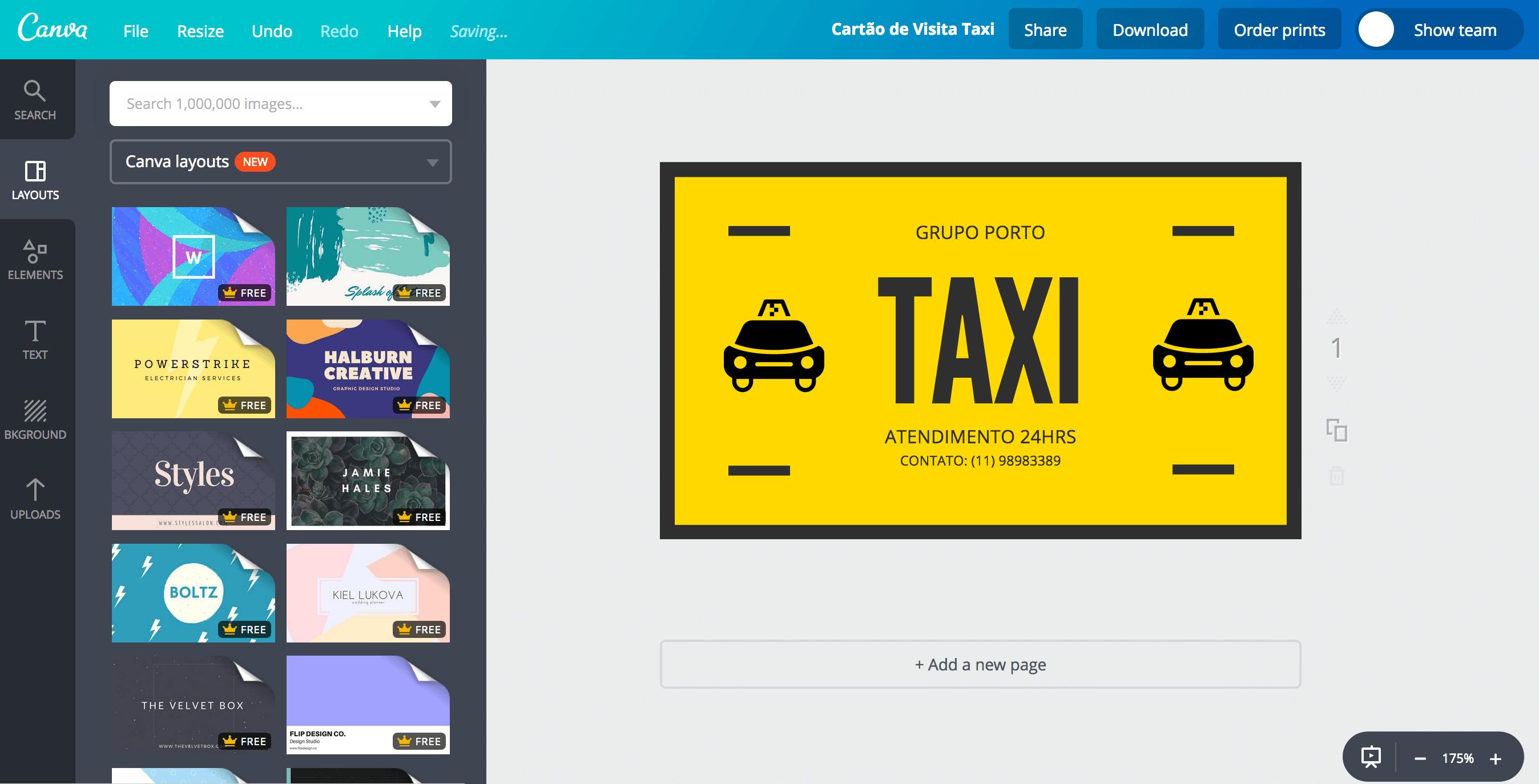Cartão de visita para taxi (taxista)