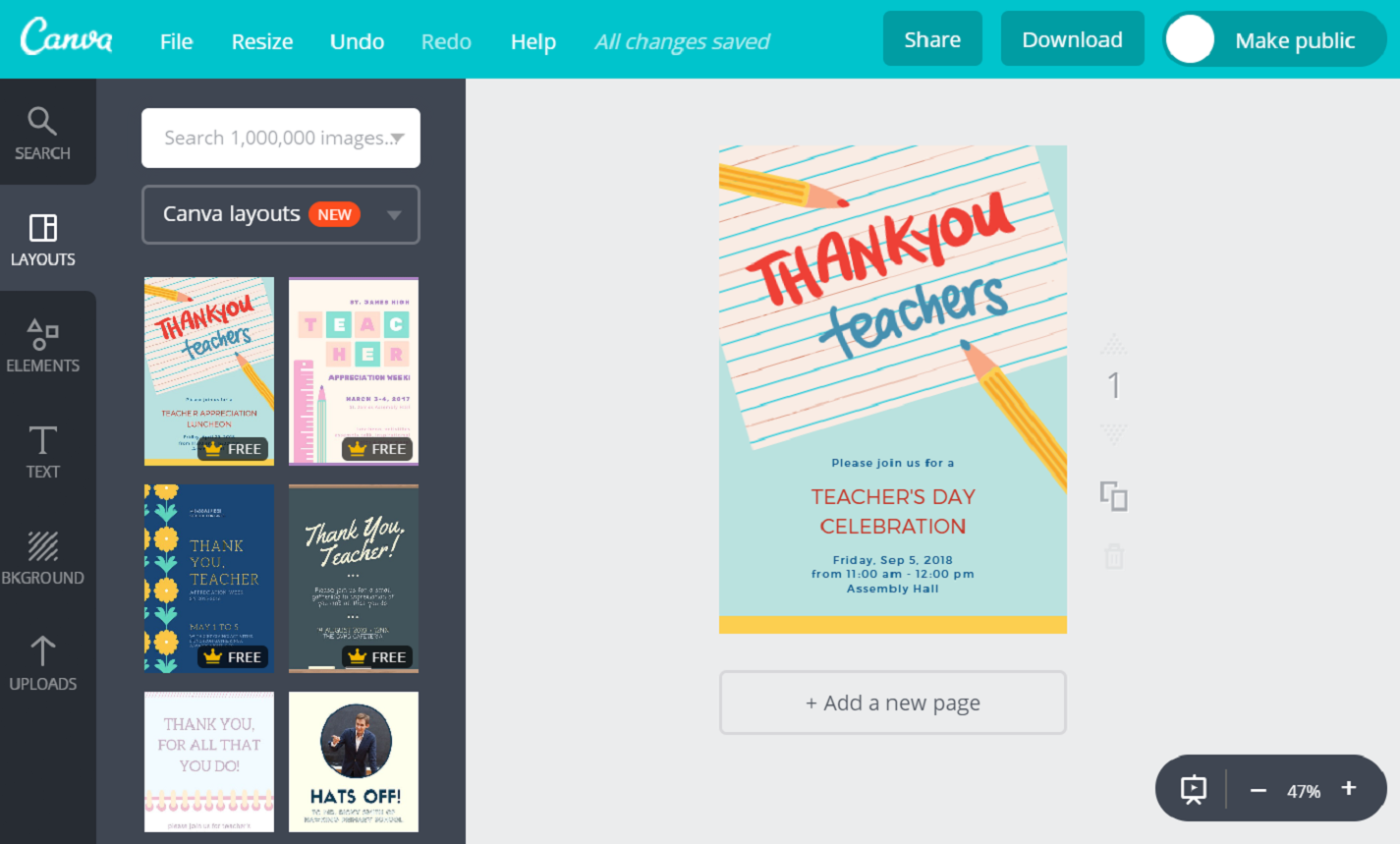 Make Teacher S Day Invitations Online Free With Canva