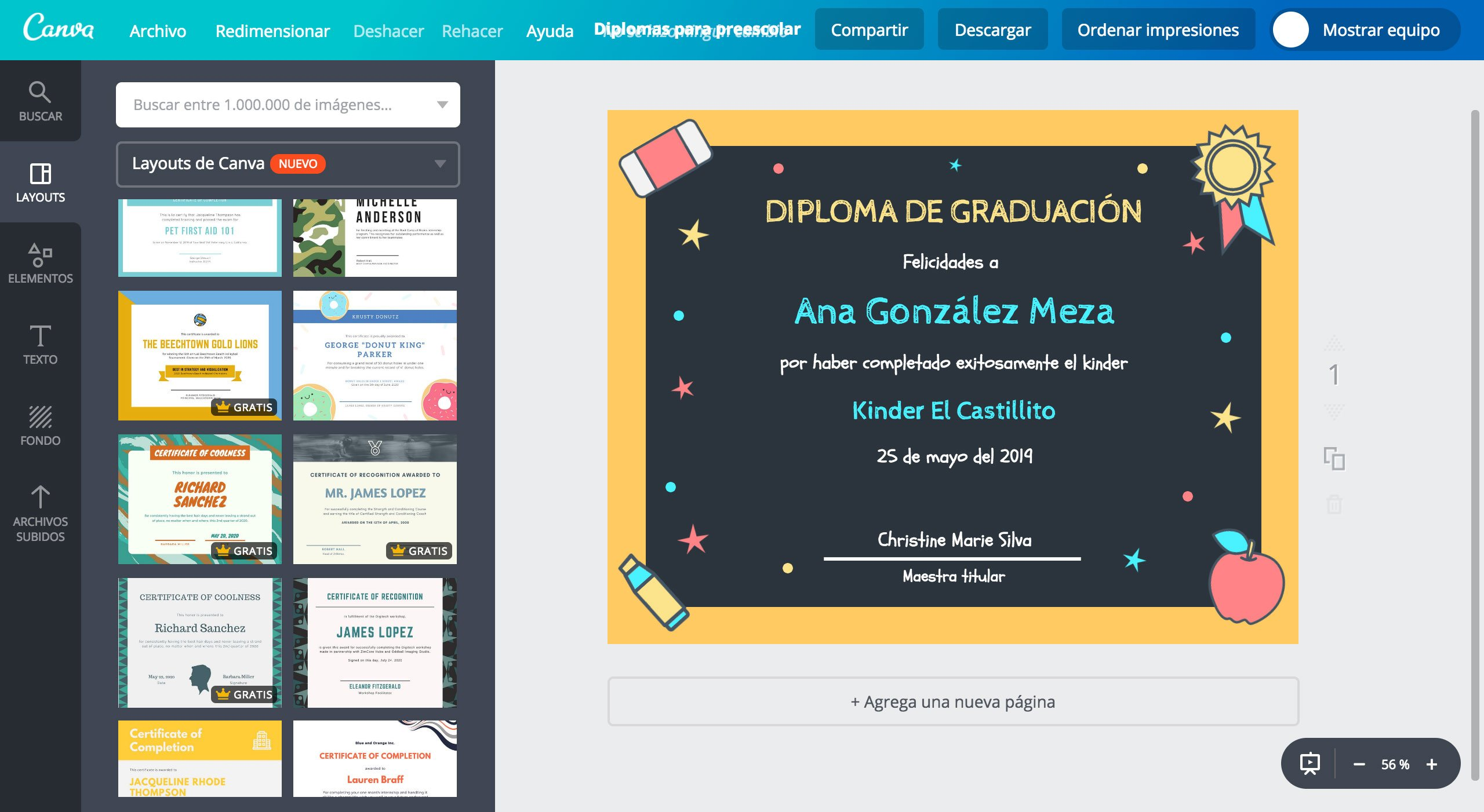 dise u00f1a diplomas para preescolar online gratis