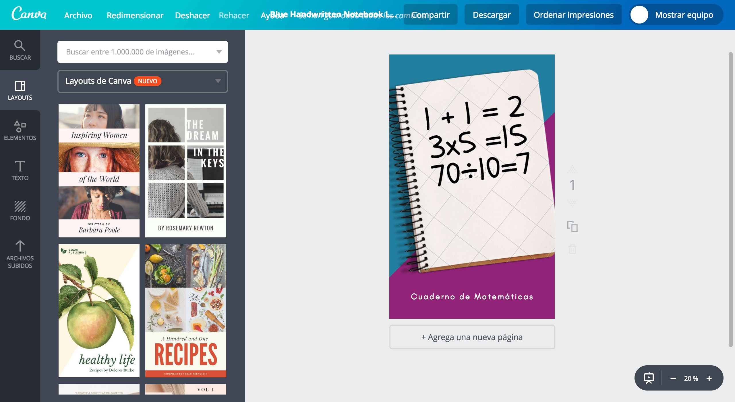 Crea Portadas Para Cuaderno De Matemáticas Gratis Canva