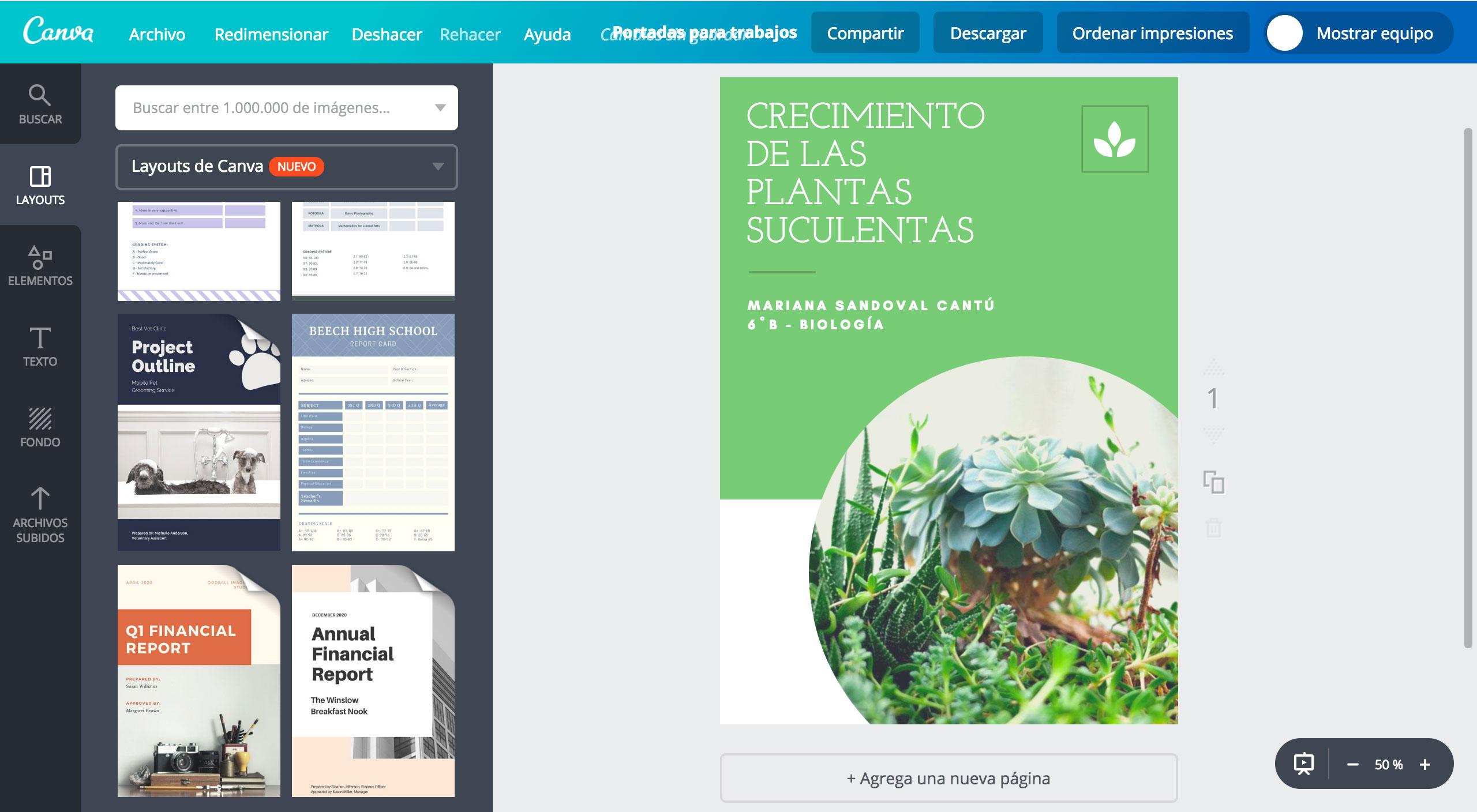 diseña portadas para trabajos online gratis canva