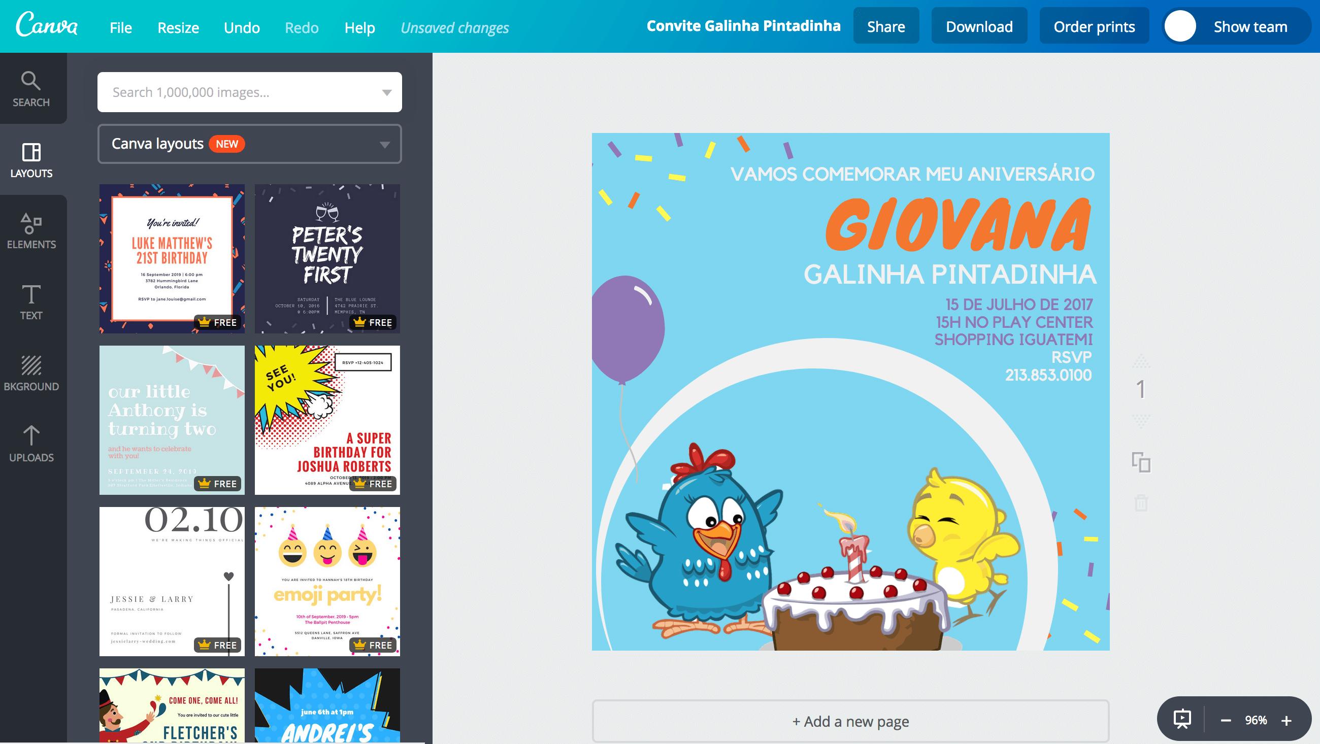 Convite de aniversário Galinha Pintadinha