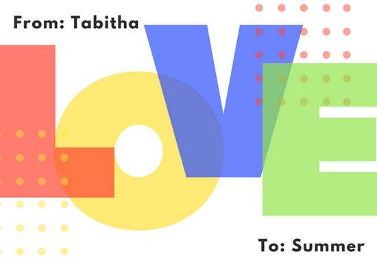 Макет открытки любимой с цветной надписью Love