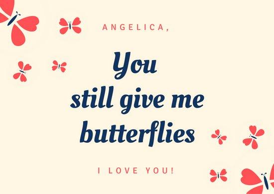 Дизайн открытки любимым с рисунками бабочек
