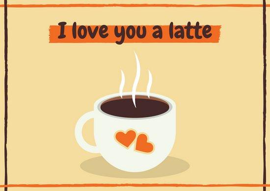 Идея для открытки про любовь с рисунком чашки кофе и сердечком