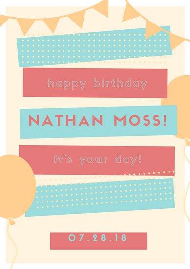 Оформление плаката на день рождения с цветными прямоугольниками