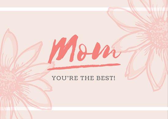 Шаблон открытки с днем матери на розовом фоне с контурным рисунком цветов