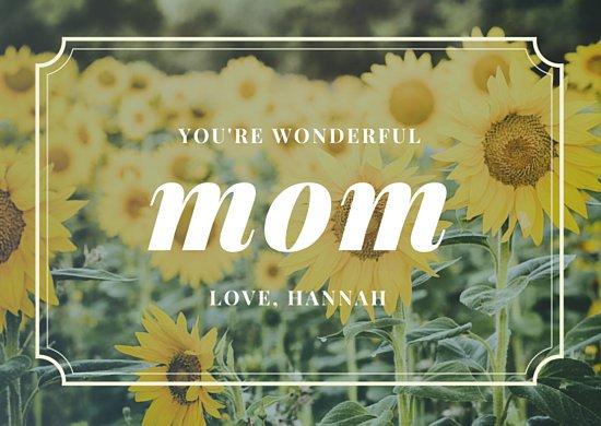 Шаблон открытки для мамы с фото подсолнухов