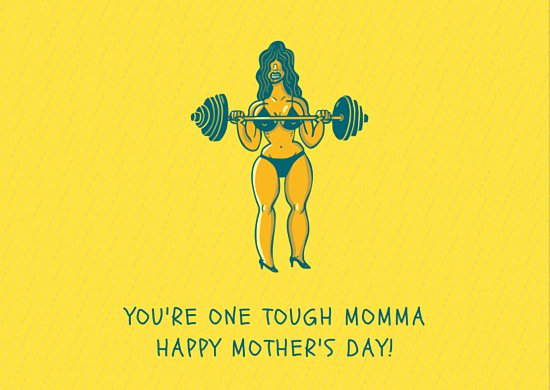 Веселая открытка ко дню матери для сильных мам с шутливым рисунком