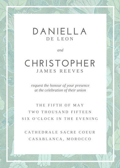 Приглашение на свадьбу в серо-зеленой рамке