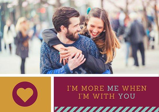Шаблон открытки о любви с фотографией девушки и молодого человека
