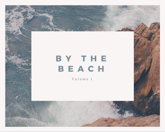 Шаблон для коллажа из фотографий с надписью в белом блоке на фоне океана