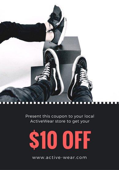 Купон на скидку с черно-белой фотографией обуви
